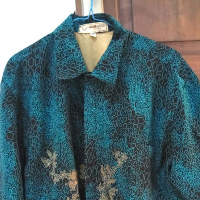 Kemeja Batik Lengan Pendek Hitam Hijau Tosca