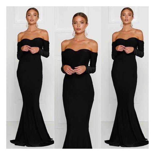 Beautiful Black Off The Shoulder Ball Dress