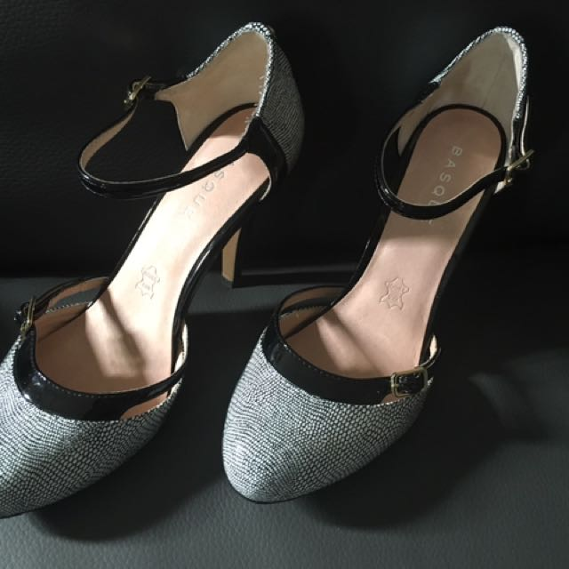 Black & white Leather Mary Jane Stilettos basque