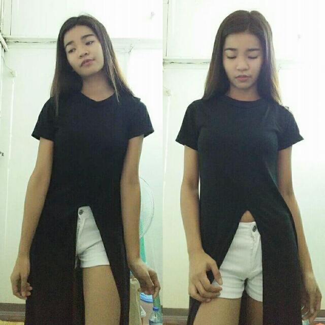 Black With Cut Sa Gitna Long Dress