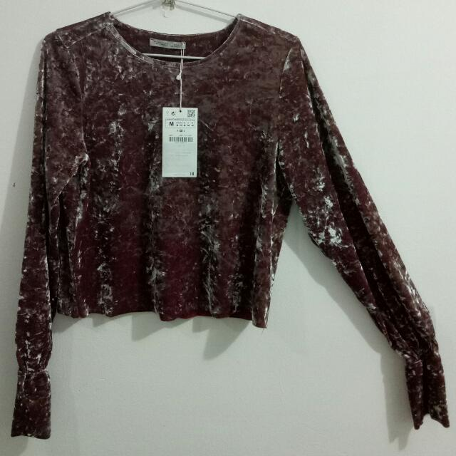 Zara #cropped Top (ngatung) #size M#Bahan Beludru, Lengan Terompet (new With Tag)