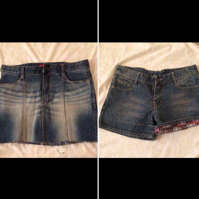Bundled Denim Skirt And Shorts