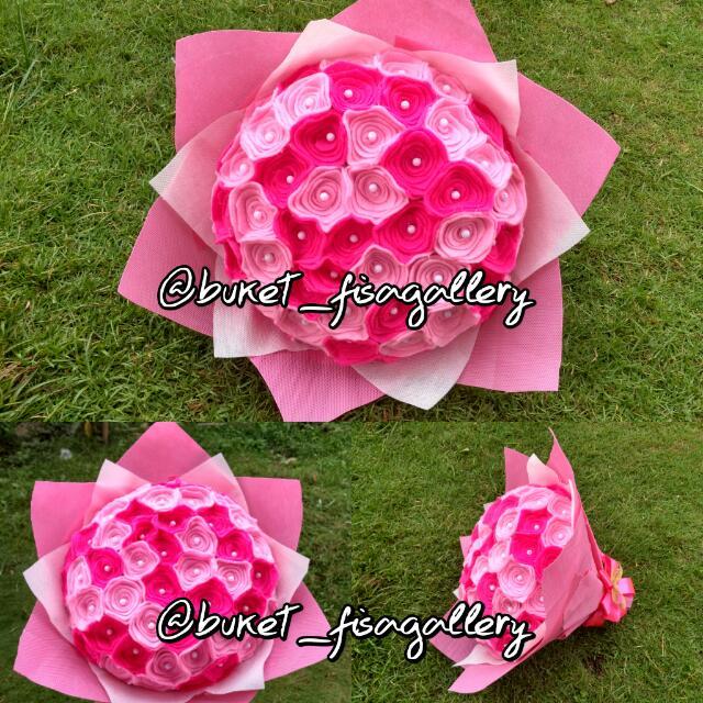 Bunga Bucket Flanel Pink Fanta