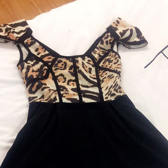 Cute Leopard Print And Black Playsuit