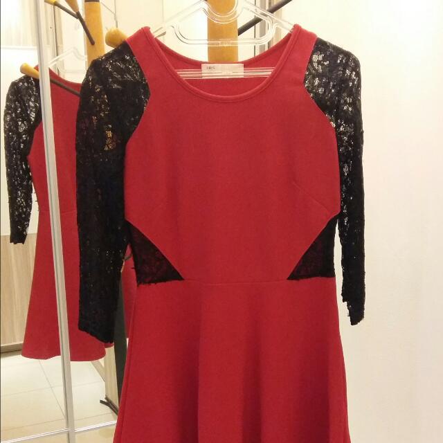 Dress Brokat Merah