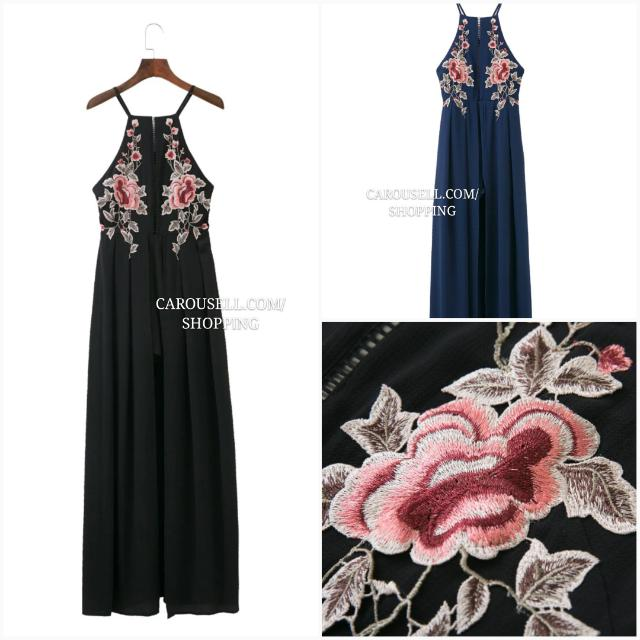 ff8442833 (FLASH SALE) (3 Colours) Floral Embroidered Halter Maxi Slit Cut Dress!  #huat50sale, Women's Fashion, Clothes, Dresses & Skirts on Carousell