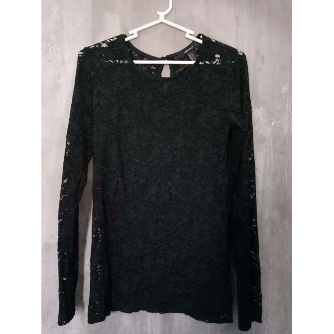 Forever 21 black lace sleeves