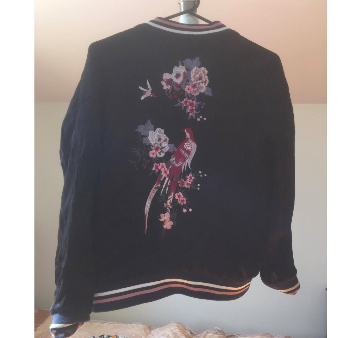 Embroidered Black Bomber Jacket (Size S)