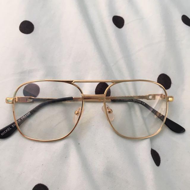 Gold Vintage retro Aviator Clear Lense Glasses