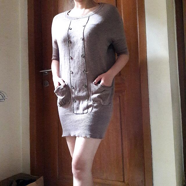 Knitted Mini Dress With Button