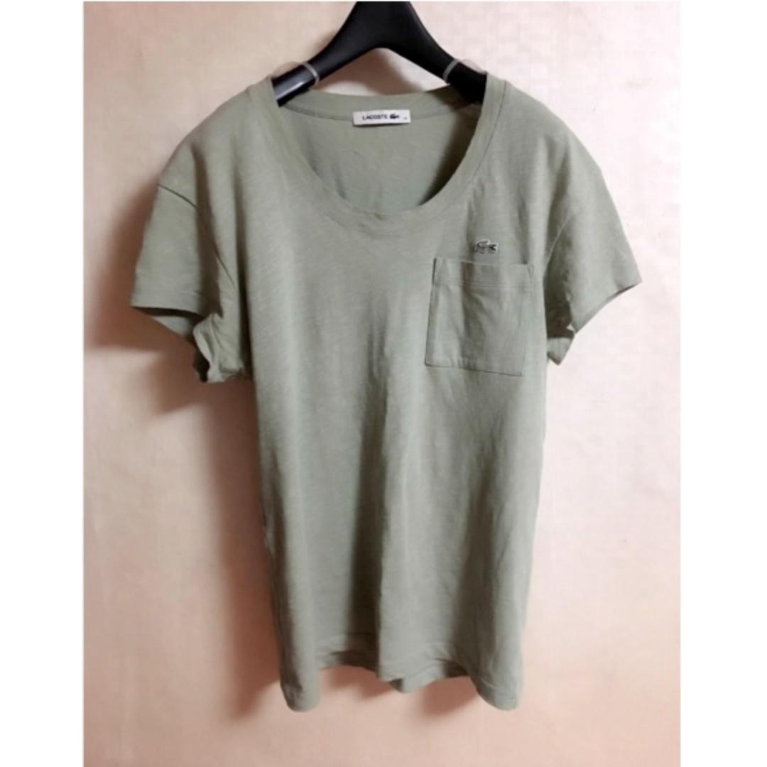 Lacoste 圓領口袋休閒 t-shirt 女 S號