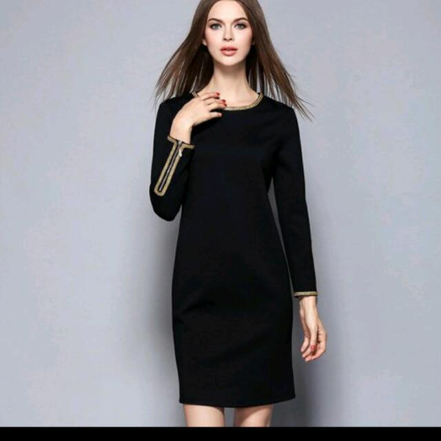 全新M號金線刺繡黑洋裝