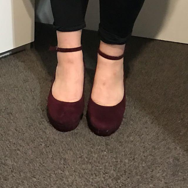 Maroon Velvet Look Heels