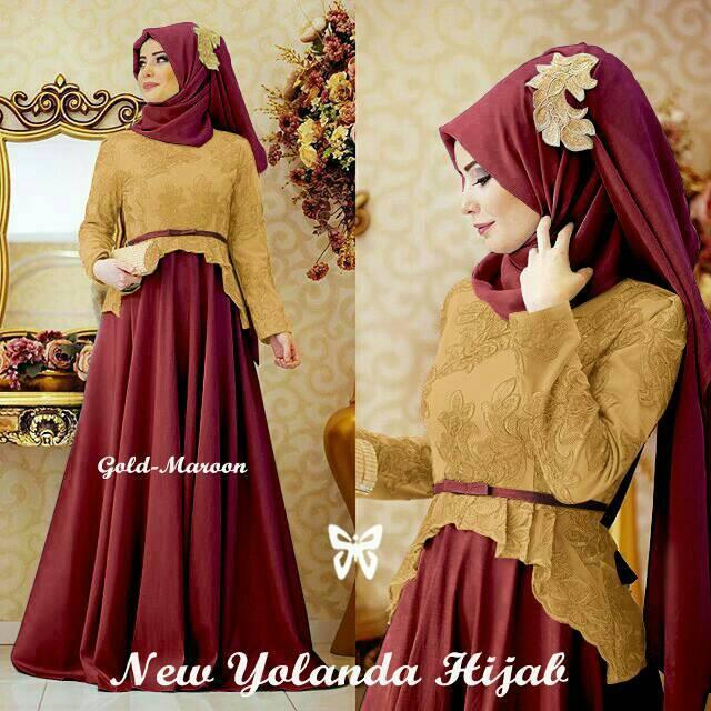 Maxi Yolanda Gold Maroon Dress Pesta Hijab Gamis Murah Olshop