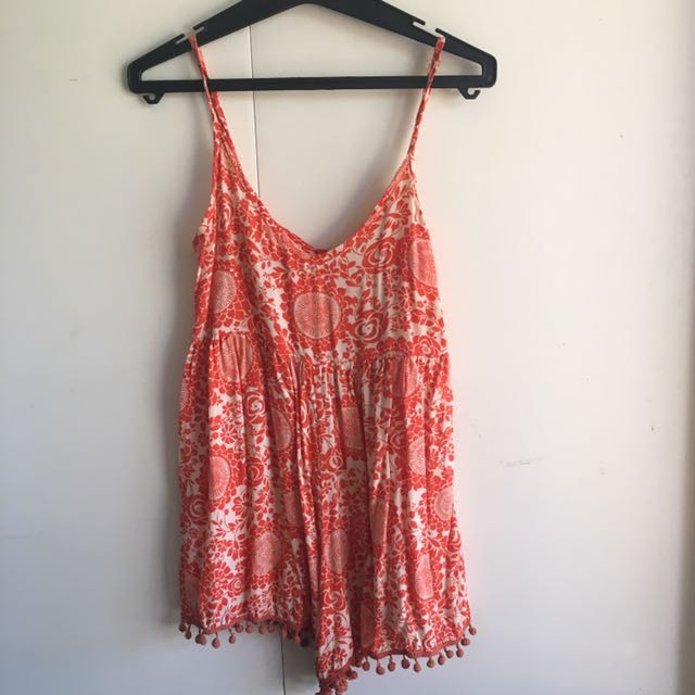 Mika & Gala Orange And White Size 6 Playsuit