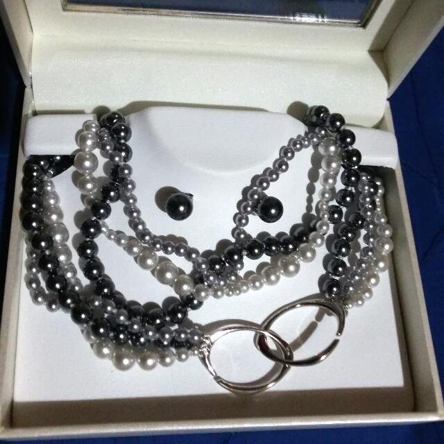 Misaki 3 Strands Rhodium Pear Necklace And Pair Of Earrings Set