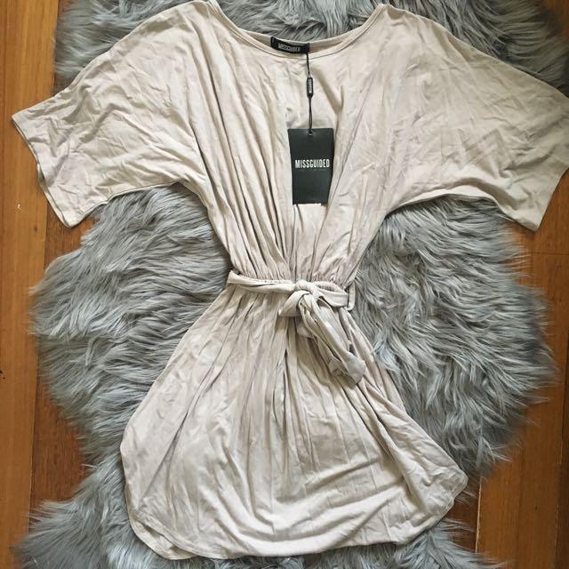Missguided Light Grey Jersey Tie-Waist Dress (6)