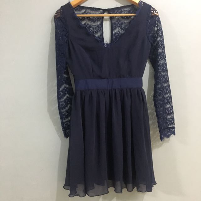 Elise Ryan By ASOS Navy Long Sleeve Lace And Chiffon Dress
