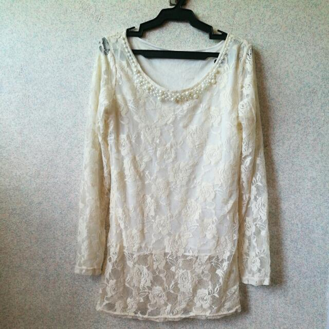 Off White Long Sleeve Lace