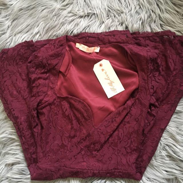 Oh My Love Burgundy Lace Long Sleeve Dress (S)