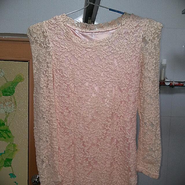 Peach Brokat Dress