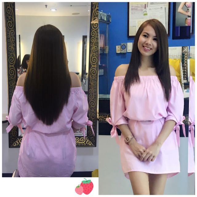 Pink & white Striped Off Shoulder Dress