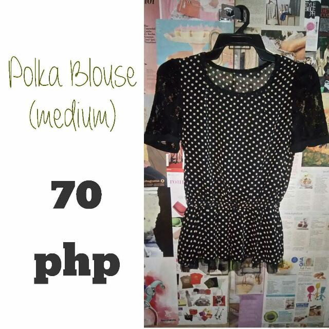 Polka Blouse Top - Preloved