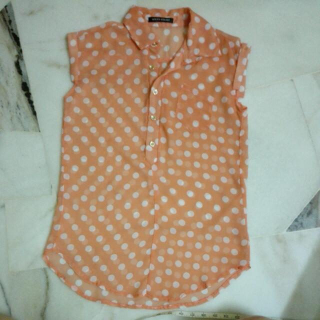 Polka Dot Orange Transparent Top
