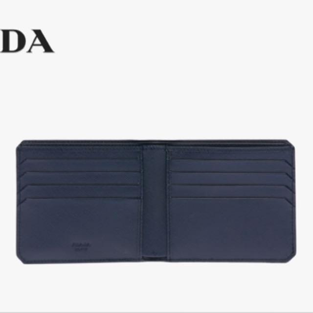 8d7c35eb40af Prada Saffiano Leather Wallet (Baltic Blue)