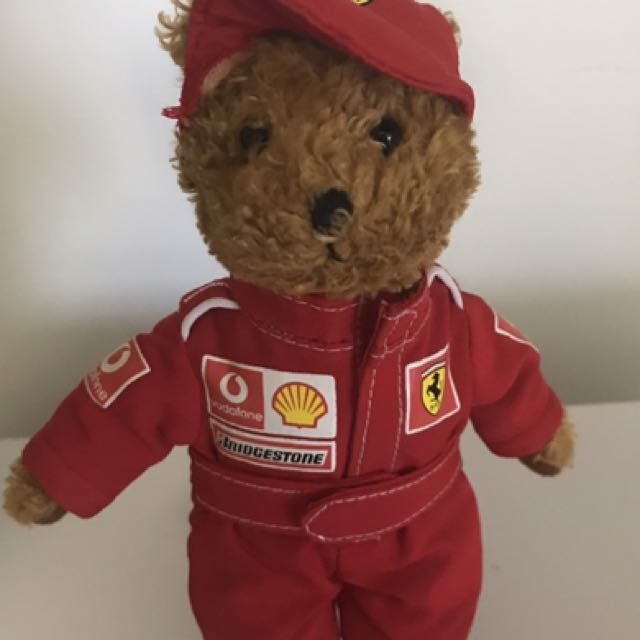Red and white Ferrari cap/teddy bear for sale
