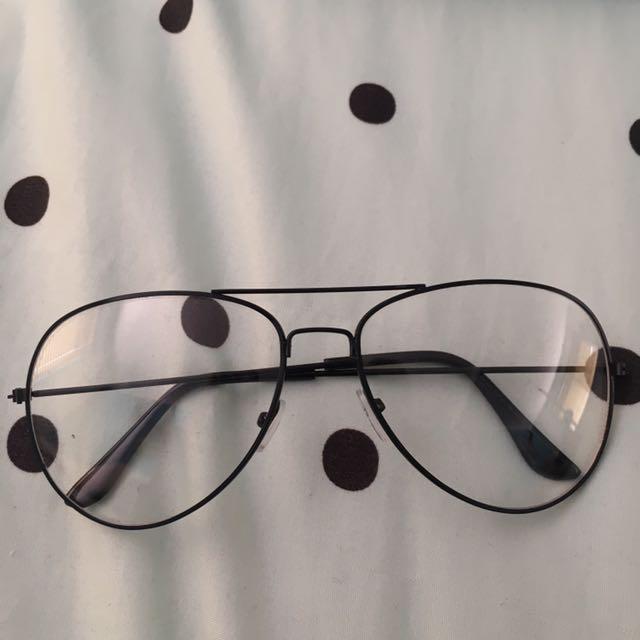 Retro Black Aviator Clear Lense Glasses