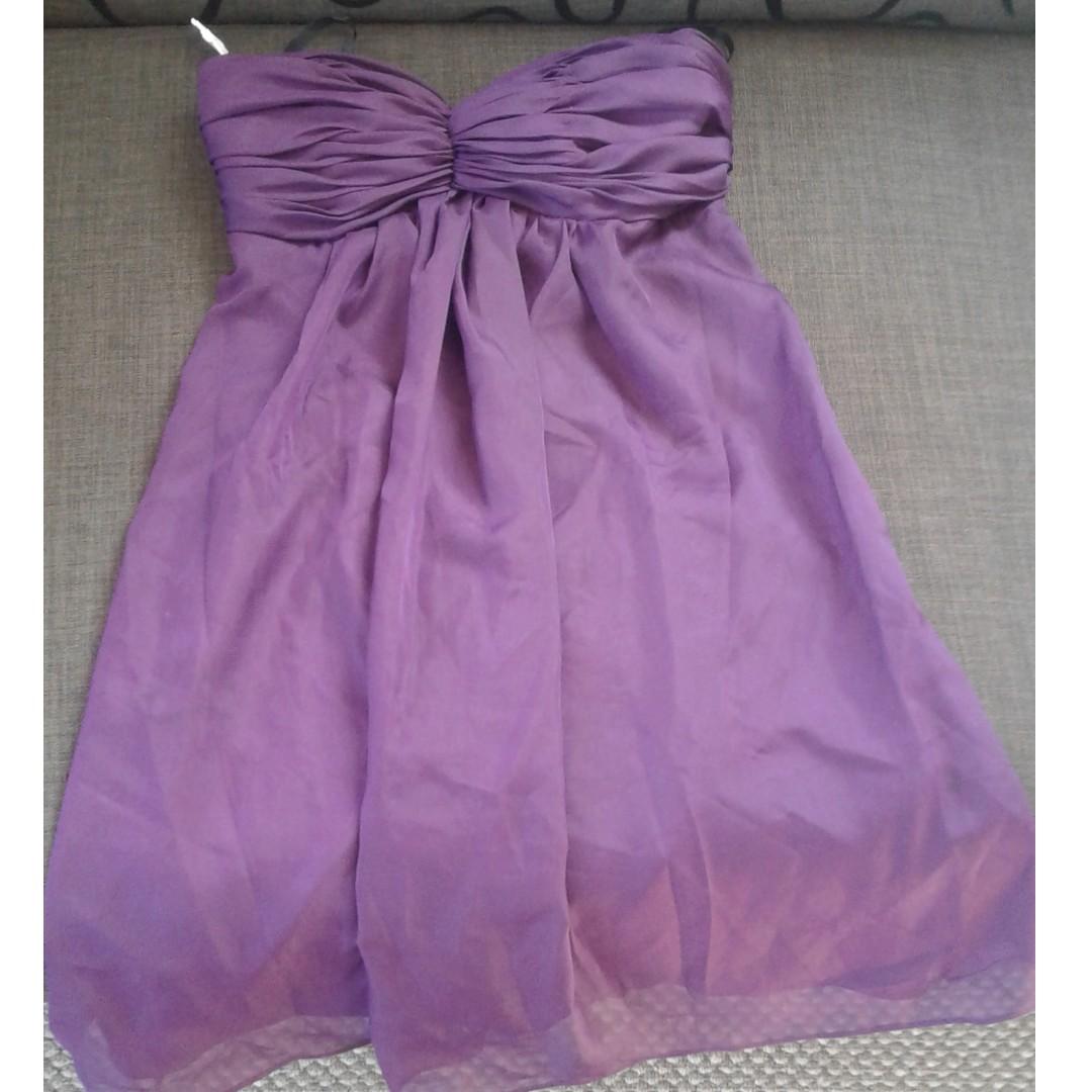 Strapless purple mini dress