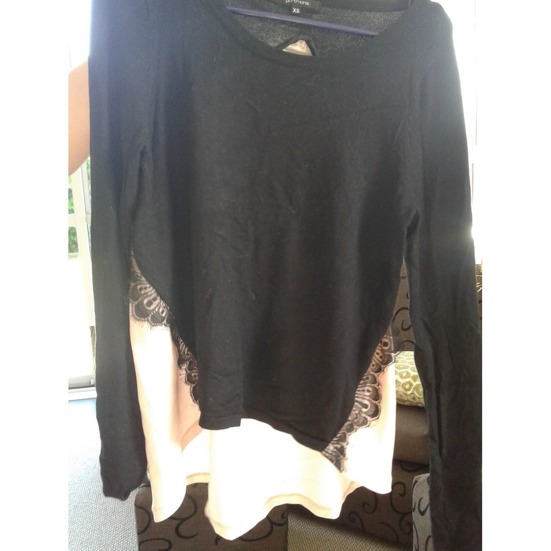 Tan and black lacy shirt, sheer open back