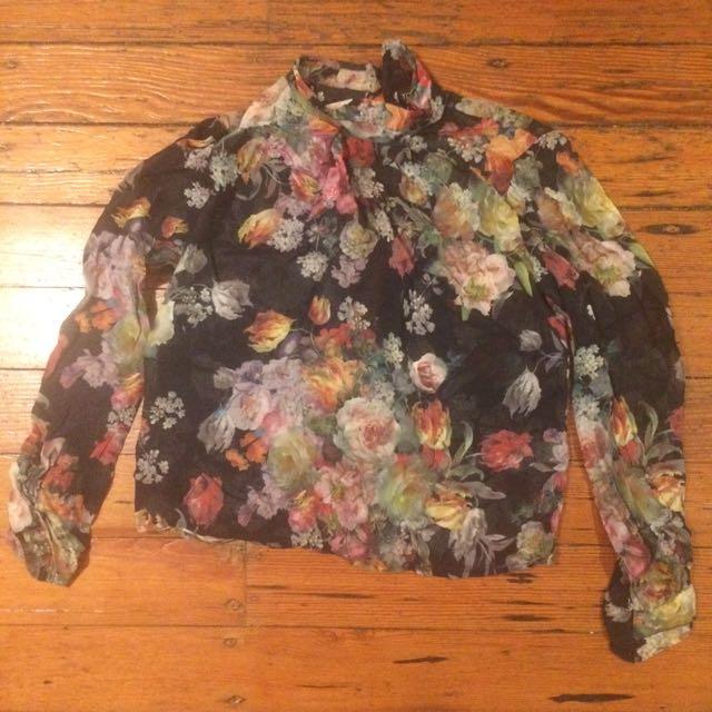 Topshop Sheer Floral Shirt
