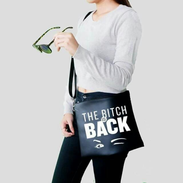 Bitch Is Back Trendy Leather Body Bag