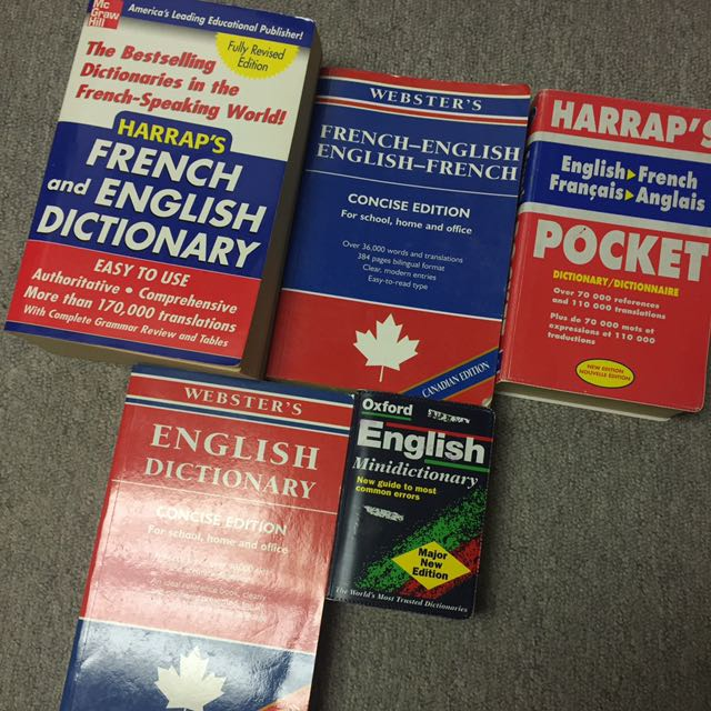 Various Great Condition French And English Dictionary