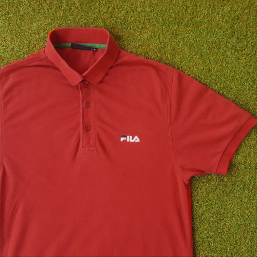 Vintage 90s Red Fila Logo Polo Shirt / Distressed