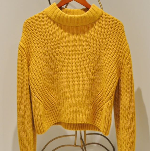 Yellow High Neck Sweater