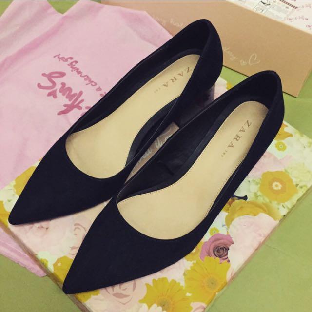 Zara尖頭深藍粗跟鞋-40號