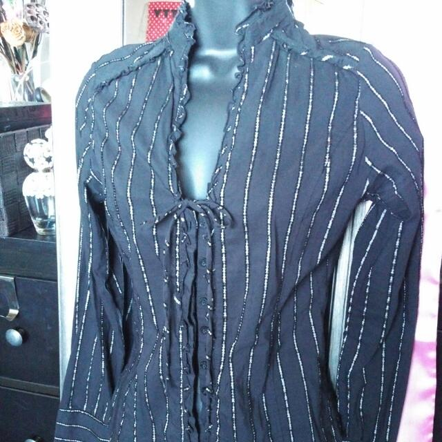 Zara Black Pinstripe Dress Shirt