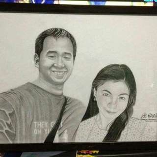 Charcoal Graphite Portrait 12x16inch Canson w/frame SAMPLE