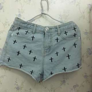 90%new淺藍色十字架高腰牛仔褲L碼