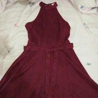 酒紅削肩性感綁帶洋裝 #轉轉來交換