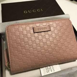 Gucci 粉紅色 全皮革 經典長夾