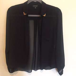 Topshop Sheer Collared Shirt
