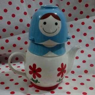 俄羅斯娃娃 陶瓷 杯 連 壺
