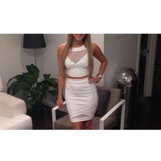 White Crop Top And Skirt Set