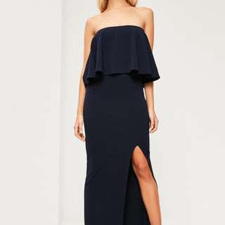 Missguided Navy Blue Strapless Dress (Size 12)