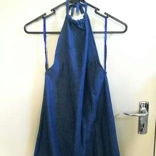 VINTAGE DENIM HALTER FROM LONDON - Size 8