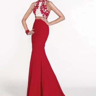 BN Red Two Piece Prom Formal Dress